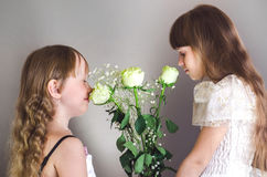 Girls sniffing roses Royalty Free Stock Image