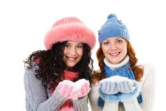 Girls with snow Stock Photos
