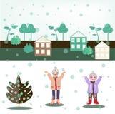 Girls and snowfall. Stock Image