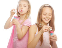 Girls with soap bubbles Royalty Free Stock Photography
