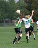 Girls Soccer Game #0. Girls soccer teams playing soccer in park royalty free stock images