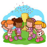 Girls soccer players champions holding trophy Royalty Free Stock Images