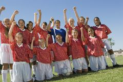 Girls' soccer team. (13-17 royalty free stock images