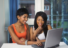 Girls socializing on internet royalty free stock photo
