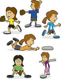 Girls Softball. A group of illustrations showing girls in different softball positions royalty free illustration