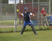 Girls Softball. Waukesha West HS Girls played Whitnall HS in a fast pitch softball, WIAA Regional game in Hales Corners on May 31, 2011. This Waukesha catcher is Stock Photography