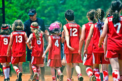 Girls Softball End of Game Royalty Free Stock Photography