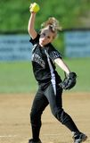 Girls softball - pitcher in the windmill Stock Photo
