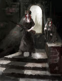 Girls soldiers. In second world war illustration Stock Image