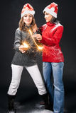 Girls with sparklers Royalty Free Stock Photography