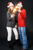 Girls with sparklers Stock Photo