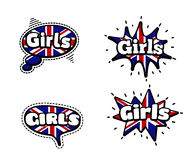 Girls Speech Bubbles. Fashion Patch Badge British Expressions, Girls Speech Bubbles. Set of Girls Stickers, Pins in Cartoon Comic Style royalty free illustration