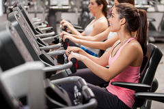 Girls on a spinning session Stock Images