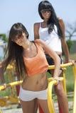 Girls on sport playground Royalty Free Stock Photo