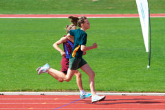 Girls in sports race royalty free stock photo