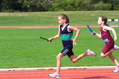 Girls in sports race royalty free stock photos
