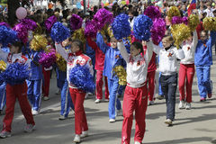 Girls from sports school of Pyatigorsk (Russia) on parade in hon Royalty Free Stock Images
