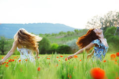 Girls in spring field Royalty Free Stock Photo