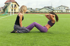 Girls in stadium Royalty Free Stock Images