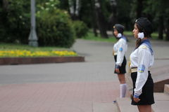 Girls Stand Guard in Odessa Ukraine Royalty Free Stock Photography