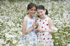 Girls Standing In Flower Meadow Royalty Free Stock Images