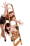 Girls with stepladder Stock Image