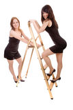 Girls with stepladder Stock Images