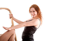 Girls with stepladder Royalty Free Stock Image