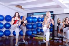 Girls stepping in a fitness center Stock Photography