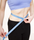Girls stomach measuring with tape isolated on white background, skiny woman on diet, healthcare people concept. Close up stock photos