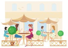 Girls at street cafe. Vector Royalty Free Stock Photo