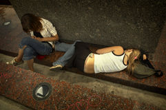 Girls on the street in out. Teens in big problems Royalty Free Stock Photography