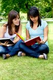 Girls studying outdoors Stock Photo