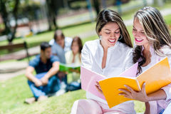 Girls studying outdoors Stock Photography