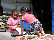 Girls studying in Tharanche village - Nepal Royalty Free Stock Image
