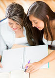 Girls studying together Royalty Free Stock Photos