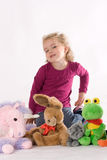 Girls with stuffed animals Stock Photography