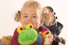 Girls with stuffed animals Royalty Free Stock Photography