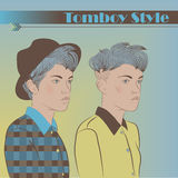 Girls in the Style of Tomboy. Two Young Girls. Vector Illustration Stock Photos