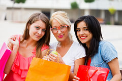 Girls After Successful Shopping Royalty Free Stock Images
