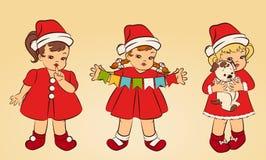 Girls in suit Snow Maiden. Cartoon little girls in suit Snow Maiden Royalty Free Stock Images