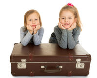 Girls and suitcase Stock Photo