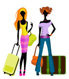 Girls with suitcases. Vector illustration  of a girls with suitcases Stock Image
