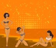Girls on a summer beach. Stock Photo