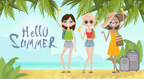 Girls On Summer Beach Vacation Concept Seaside Tropical Holiday Banner Royalty Free Stock Image