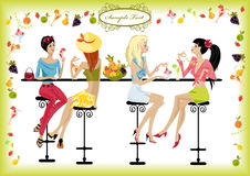Girls summer cafe. Girls spend their time in a summer cafe Royalty Free Stock Photography