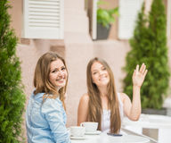 Girls in summer cafe Royalty Free Stock Photography