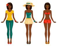 Girls in summer clothes. Vector illustration. Stock Photo