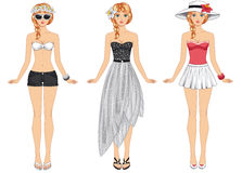 Girls in summer clothes. Vector illustration. Royalty Free Stock Photography