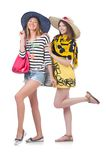 Girls in summer clothing with bags isolated on the Stock Images